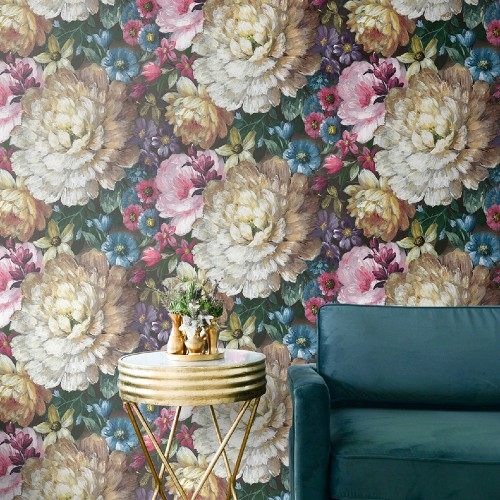 NW32700 Seabrook Wallcoverings NextWall Blooming Floral Peel and Stick Wallpaper Room Setting