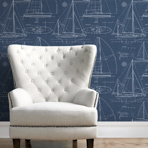 NW32902 Seabrook Wallcoverings NextWall Yacht Club Peel and Stick Wallpaper Navy Room Setting