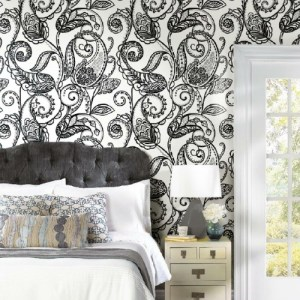 RMK11591PNL York Wallcoverings RoomMates Paisley Power Peel and Stick Wallpaper Black Room Setting