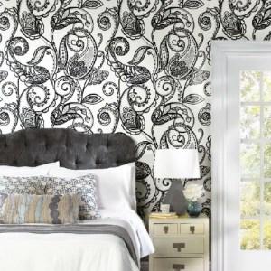 RMK11591PNL York Wallcoverings RoomMates Paisley Power Peel and Stick Wallpaper Black Room Setting