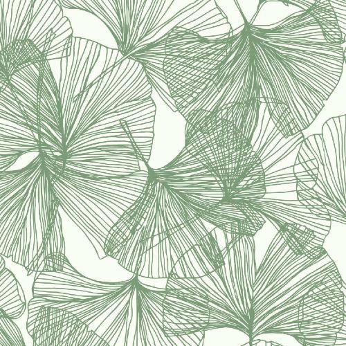RMK11603WP York Wallcoverings RoomMates Gingko Leaves Peel and Stick Wallpaper Green