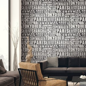 NW31400 Seabrook Wallcoverings Around The World Peel and Stick Wallpaper Black Room Setting