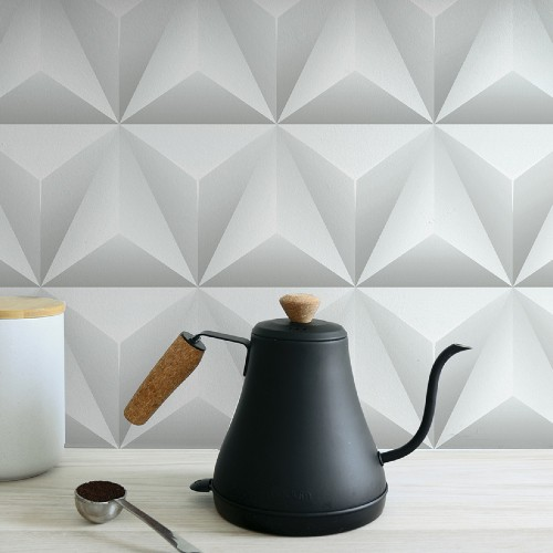 NW32800 Seabrook Wallcoverings NextWall Triangle Origami Peel and Stick Wallpaper Kitchen Close Up