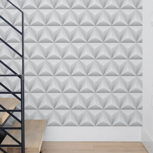 NW32800 Seabrook Wallcoverings NextWall Triangle Origami Peel and Stick Wallpaper Room Setting