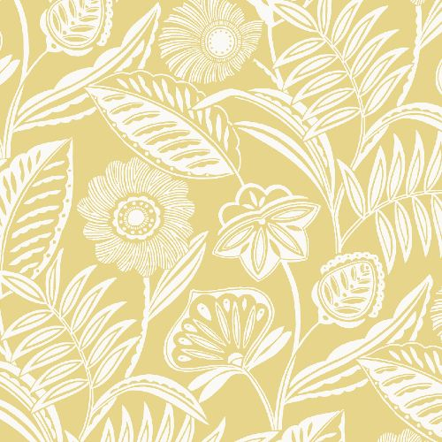2969-87529 Brewster Wallcoverings A Street Prints Pacifica Alma Tropical Floral Wallpaper Yellow