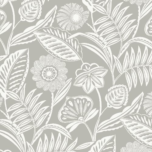 2969-87531 Brewster Wallcoverings A Street Prints Pacifica Alma Tropical Floral Wallpaper Grey