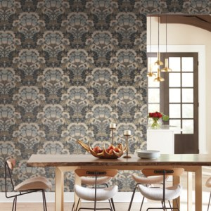 NV5557 York Wallcoverings Modern Heritage Designed to Inspire 125th Anniversary Edition Yarrow Nouveau Wallpaper Charcoal Room Setting