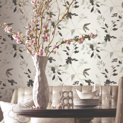PSW1103RL York Wallcoverings Simply Candice Linden Flower Peel and Stick Wallpaper Black Room Setting