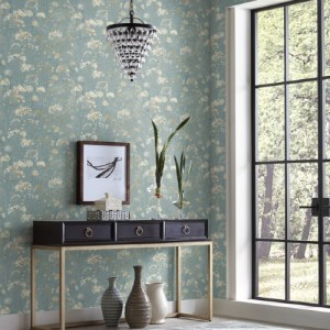 PSW1106RL York Wallcoverings Simply Candice Botanical Fantasy Peel and Stick Wallpaper Blue Room Setting