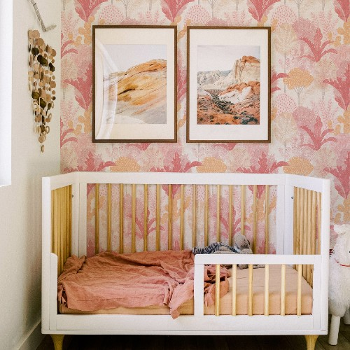 2969-26046 Brewster Wallcoverings A Street Prints Pacifica Ari Desert Oasis Wallpaper Pink Room Setting
