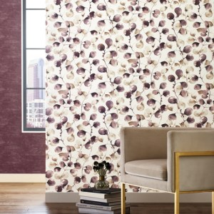 OG0591 York Wallcoverings Antonina Vella Elegant Earth Eucalyptus Trail Wallpaper Mulberry Room Setting