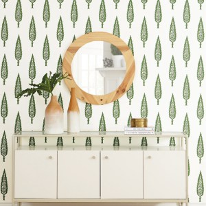 SS2604 York Wallcoverings Silhouettes Juniper Tree Wallpaper Green Room Setting