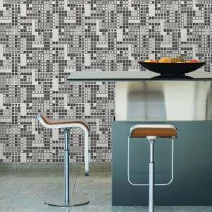 2949-60700 Brewster Wallcoverings A Street Prints Imprint Bantry Geometric Wallpaper Black Room Setting