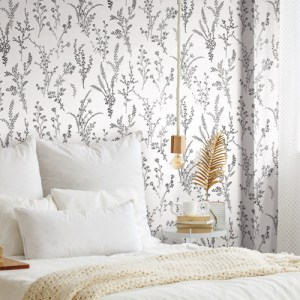 FH4026 York Wallcoverings Simply Farmhouse Wildflower Sprigs Wallpaper Black Room Setting