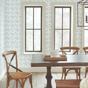 FH4064 York Wallcoverings Simply Farmhouse Chokeberry Block Print Wallpaper Duck Egg Room Setting