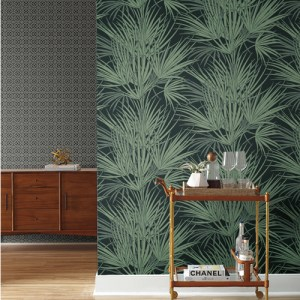 SS2542 York Wallcoverings Silhouettes Palmetto Wallpaper Black and Pergola Lattice Wallpaper Black Room Setting