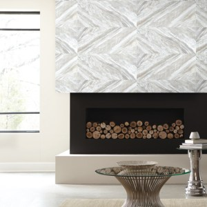 PSW1123RL York Wallcoverings Premium Stonework Carrara Horizontal Peel and Stick Wallpaper White Room Setting
