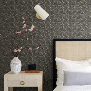 RI5124 York Wallcoverings Rifle Paper Co Tapestry Wallpaper Black Room Setting