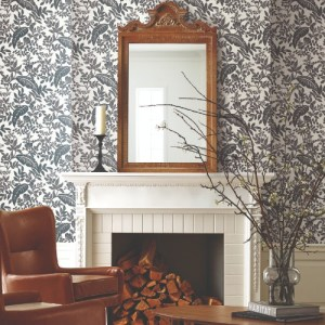 RI5136 York Wallcovering Rifle Paper Co Canopy Wallpaper White Room Setting