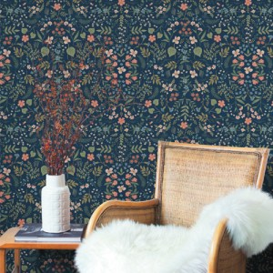 RI5154 York Wallcoverings Rifle Paper Co Wildwood Wallpaper Navy Room Setting