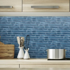 NW34602 Wallquest Wallcoverings NextWall Brushed Metal Tile Peel and Stick Wallpaper Denim Blue Room Setting