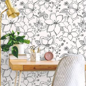 NW34900 NextWall Linework Floral Peel and Stick Wallpaper Black Room Setting