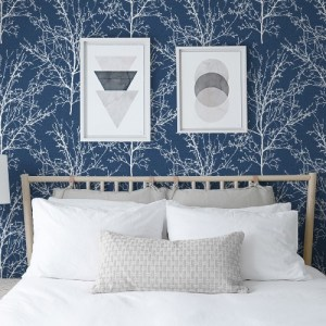 NW36102 NextWall Tree Branches Peel and Stick Wallpaper Coastal Blues Room Setting
