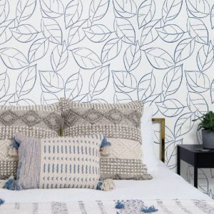 NW36502 NextWall Tossed Leaves Peel and Stick Wallpaper Navy Blue Room Setting