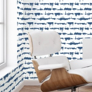 NW37102 NextWall Lifeline Peel and Stick Wallpaper Navy Blue Room Setting