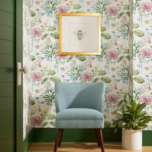 TL1917 York Wallcoverings Handpainted Traditionals Midsummer Floral Wallpaper Pink Room Setting