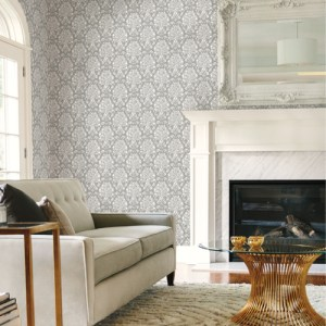 TL1936 York Wallcoverings Handpainted Traditionals Block Print Damask Wallpaper Dark Grey Room Setting