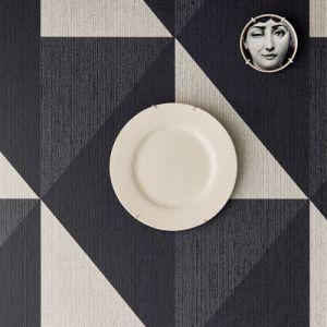 395823 Brewster Wallcoverings Eijffinger Bold Diamon Tri-Tone Geometric Wallpaper Black Room Setting