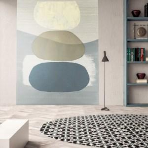 395892 Brewster Wallcoverings Eijffinger Bold Balancing Rocks Mural Blue Room Setting