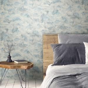 PSW1131RL Coastal Map Peel and Stick Wallpaper Blue Room Setting