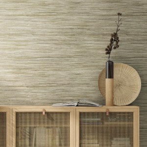 PSW1135RL Coastal Bahia Grass Peel and Stick Wallpaper Beige Room Setting