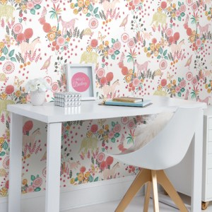 PSW1193RL York Wallcoverings Whimsy Reverie Peel and Stick Wallpaper Coral Room Setting