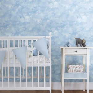 PSW1211RL Atrium Clouds Peel and Stick Wallpaper Blue Room Setting