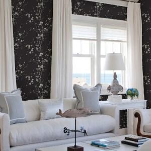 2927-81800 Brewster Wallcoverings A Street Prints Newport Monterey Floral Branch Wallpaper Black Room Setting