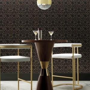 KT2110 York Wallcoverings Ronald Redding 24 Karat Empire Diamond Wallpaper Black Room Setting