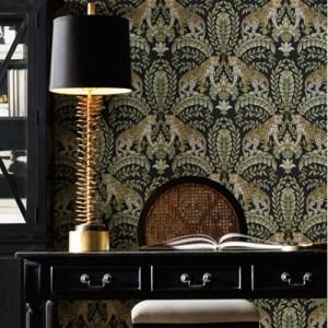 KT2205 York Wallcoverings Ronald Redding 24 Karat Jungle Leopard Wallpaper Black Room Setting