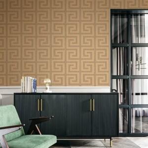 2232006 Seabrook Wallcoverings Etten Essential Textures Greek Key Wallpaper Copper Room Setting