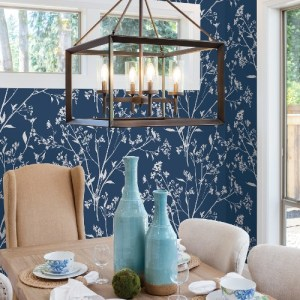 2927-80712 Brewster Wallcoverings A Street Prints Newport Southport Delicate Branches Wallpaper Navy Room Setting