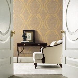 Hs7956 York Wallcoverings Ronald Redding 24 Karat Charleston Damask Wallpaper Gold Room Setting
