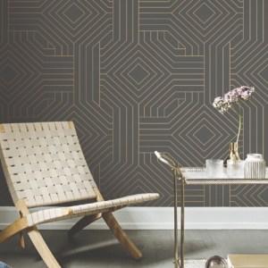 CI2371 Diverging Diamonds Wallpaper Dark Gray Room Setting