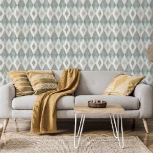 4020-96101 Ace Diamond Wallpaper Teal Room Setting