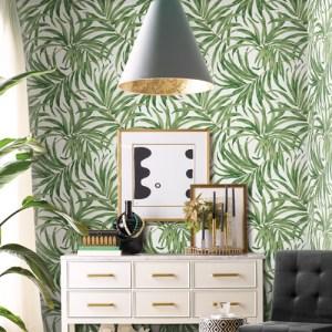 AT7050 York Wallcoverings Tropics Resource Library Bali Leaves Wallpaper Green Room Setting