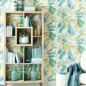 TC2626 York Wallcoverings Tropics Resource Library Tropical Toss Wallpaper Aqua Room Setting