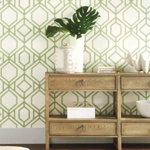 TC2631 York Wallcoverings Tropics Resource Library Sawgrass Trellis Wallpaper Green Room Setting