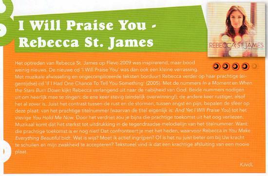 Recensie van 'I Will Praise You' van Rebecca St. James in Plugged-In