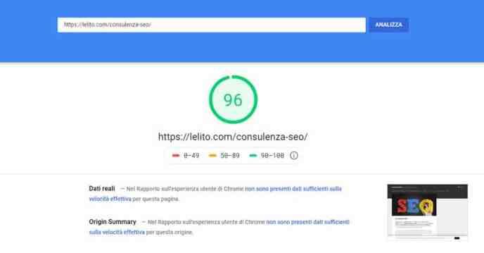 Analizzare e aumentare velocità del sito web tramite PageSpeed